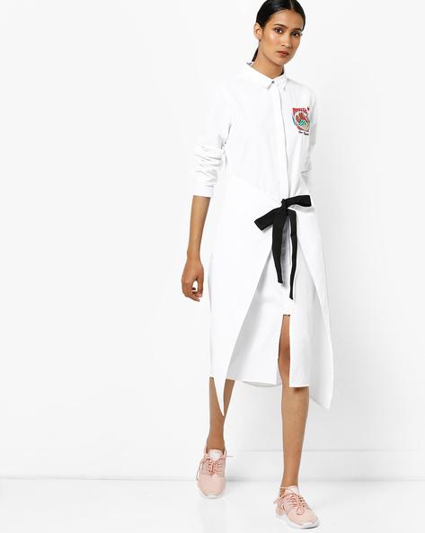 Shirt Dress With Tie-Up By AJIO ( White )