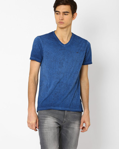 Graphic Print T-shirt With Dyed Effect By Lee ( Blue )