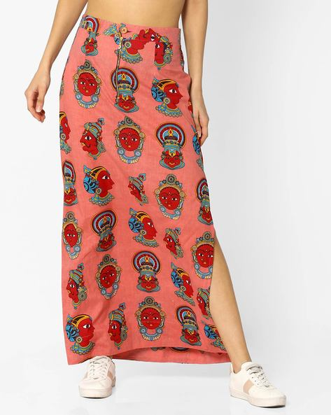 Printed Skirt With Side Slit By Desi Weaves ( Pink )