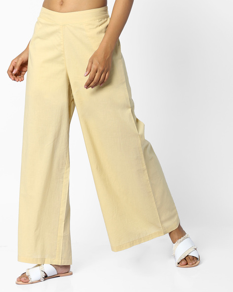 Palazzo Pants With Elasticated Back By AJIO ( Beige )