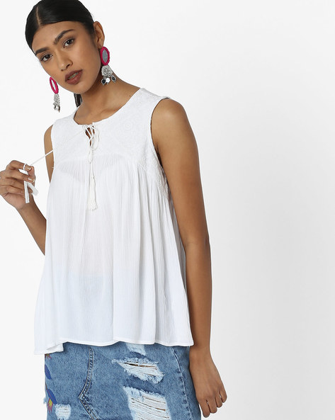 Sleeveless Top With Neck Tie-Up By DNMX ( White )