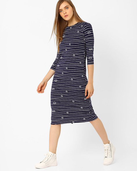 Striped Midi Dress By CHEMISTRY ( Blue )