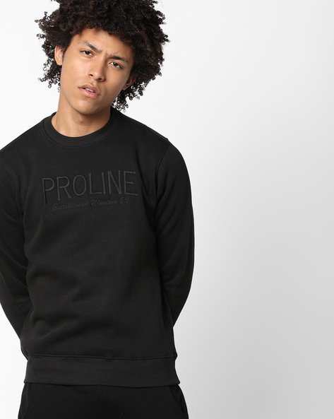 Crew-Neck Sweatshirt With Embroidery By PROLINE ( Black )