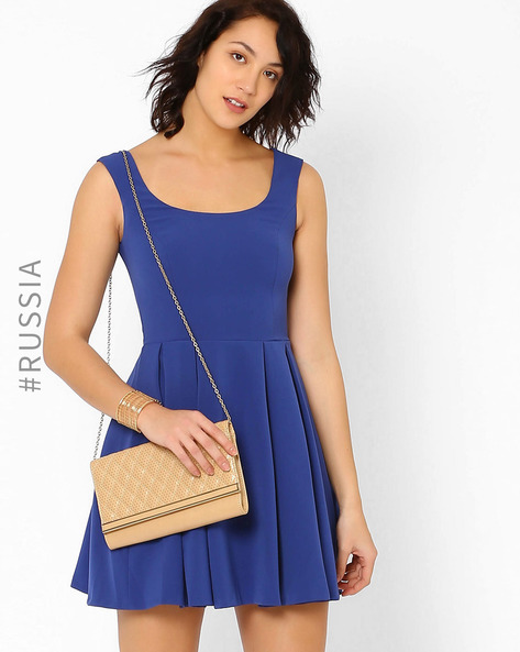 Skater Dress With Bow-Shaped Cut-Outs By Kira Plastinina ( Blue )
