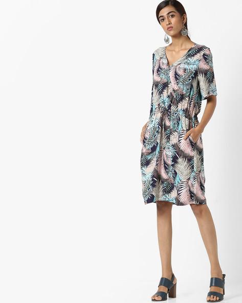 Tropical Print Shift Dress By SAINT TROPEZ ( Darkgrey )