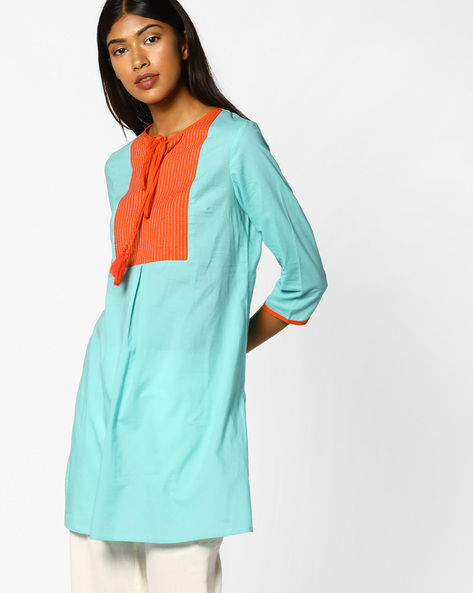 Tunic With Contrast Overlay By AJIO ( Aqua )