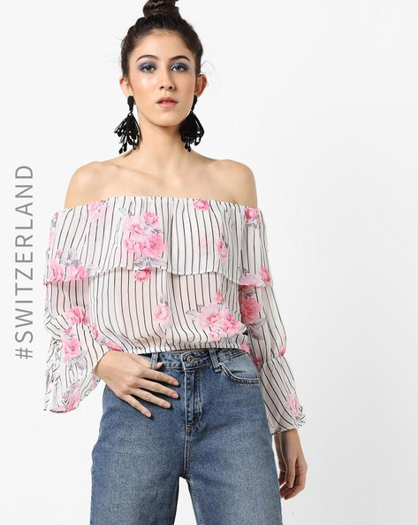 Floral Print Striped Off-Shoulder Top By TALLY WEiJL ( White )