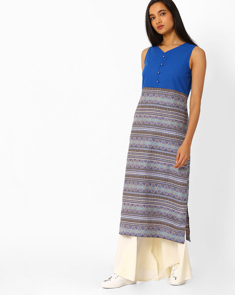 Printed Straight Kurta By AURELIA ( Blue ) - 440772755002