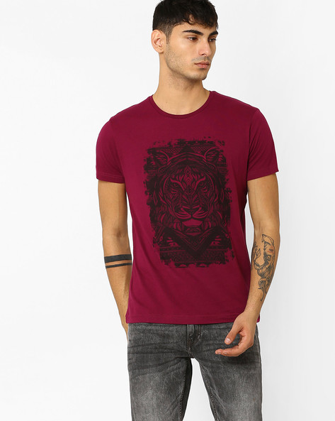 Graphic Print Slim Fit T-shirt By ADAMO LONDON ( Burgundy )