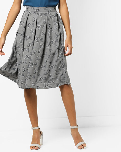 Floral Print Pleated A-line Skirt By AMARE ( Grey )
