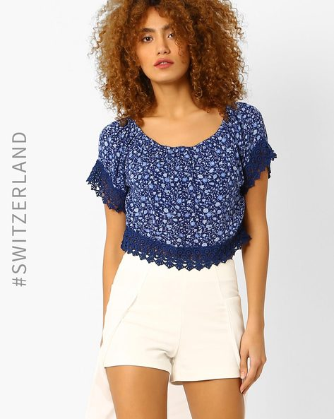 Floral Print Off-Shoulder Top By TALLY WEiJL ( Blue )