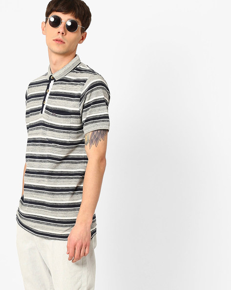 Pique Knit Striped Polo T-shirt By Fort Collins ( Grey )