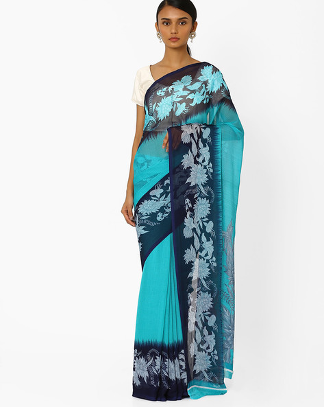 Saree With Contrast Print Border By Akoya ( Green )