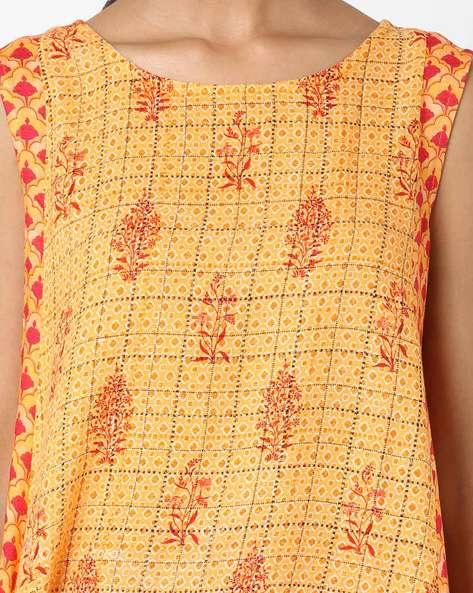 Printed Sleeveless Tunic By Zizo By Namrata Bajaj ( Yellow )
