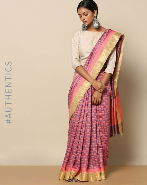 Pure Silk Tussar Floral Print Saree By Rudrakaashe-MSU ( Pink ) - 460153799001