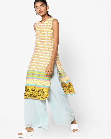Chevron Print Straight Kurta By SOCH ( Yellow )
