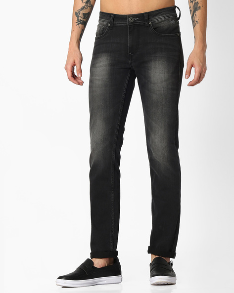 Mid-Rise Slim Fit Michael Jeans By FLYING MACHINE ( Black )