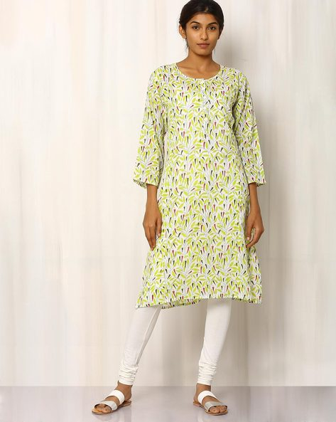 Handblock Print Kurta By Pink Lemon ( Multi )