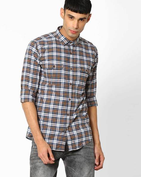 Slim Fit Cotton Checked Shirt By BASICS ( Brown )