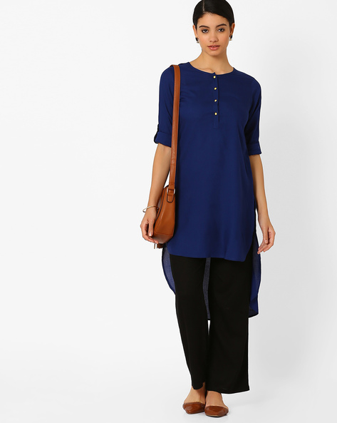 High-Low Tunic With Roll-Up Tabs By FUSION ( Darkblue )