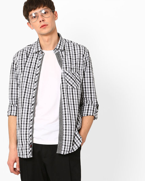 Slim Fit Shirt With Patch Pocket By Killer ( Grey )