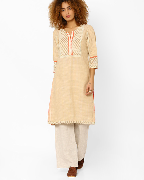 Straight Kurta With Printed Bodice By Rangriti ( Beige )