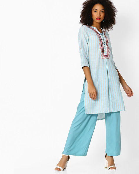 Striped High-Low Kurta With Inverted Pleat By FUSION BEATS ( Blue )