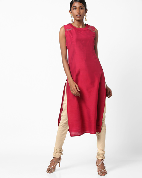 Embellished Sleeveless Kurta With Cut-Out Back By AJIO ( Pink )