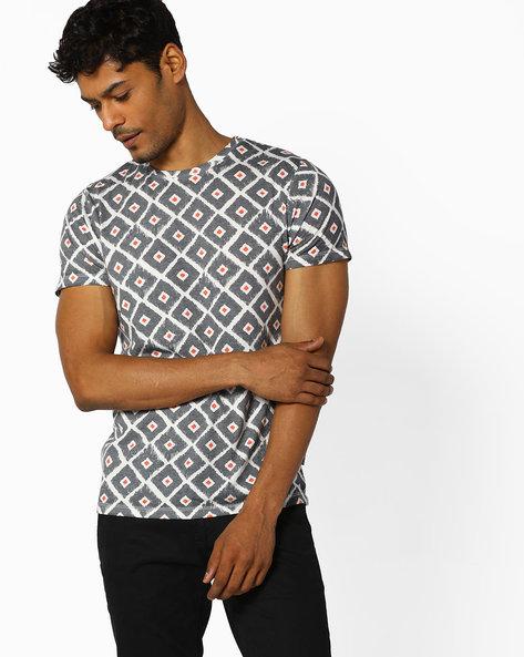 Printed Slim Fit Crew-Neck T-shirt By Jack & Jones ( Grey )