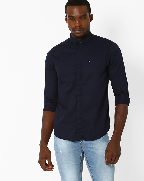 Slim Fit Shirt With Button-Down Collar By SPYKAR ( Navy )