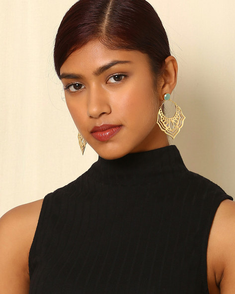 Gold-Plated Brass Drop Earrings By Indie Picks ( Multi )