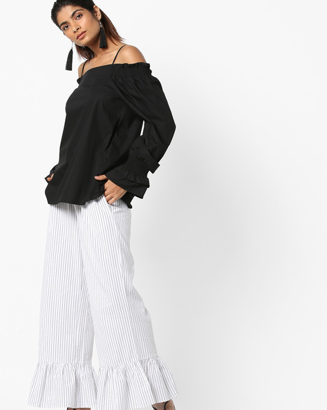Off-Shoulder Strappy Top With Bell Sleeves By Vero Moda ( Black )