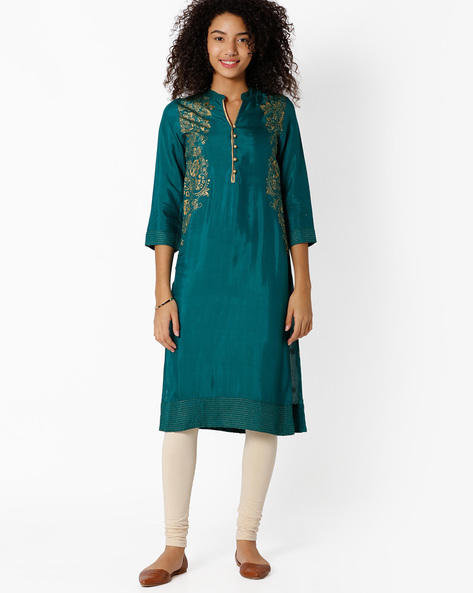 Floral Print Straight Kurta By Rangriti ( Green )