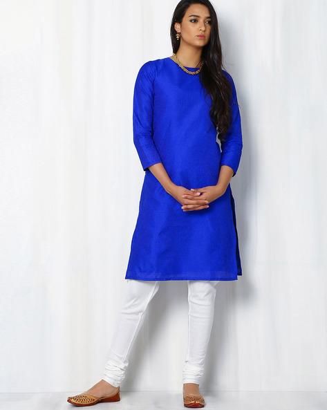Chanderi Kurta With Running Stitch Embroidery By Indie Picks ( Grey )