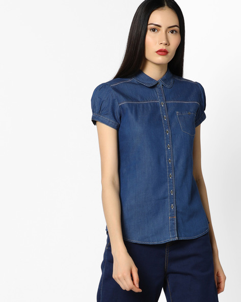 Denim Shirt With Puffed Sleeves By WRANGLER ( Blue )