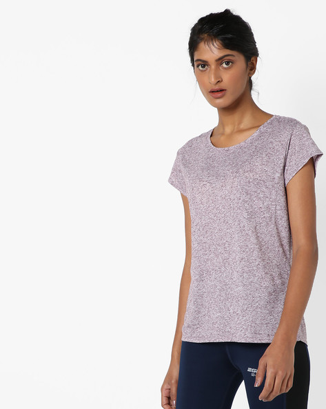 Heathered Crew-Neck T-shirt By Only ( Wine )