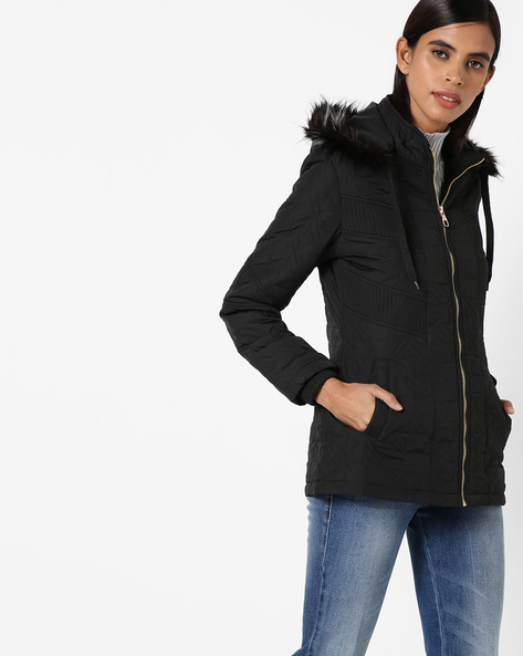 Hooded Quilted Jacket By Fort Collins ( Black ) - 460142849002