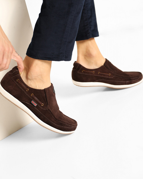 Suede Slip-On Casual Shoes By RED CHIEF ( Brown )