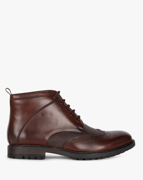 Lace-Up Formal Boot Shoes With Broguing By STELVIO ( Brown )