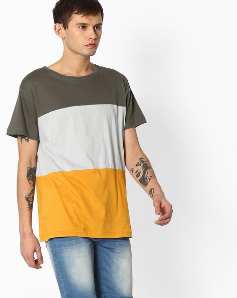 Slim Fit Cut & Sew T-shirt By Blue Saint ( Multicolor )