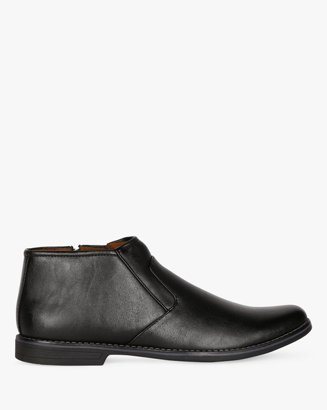 Mid-Top Slip-On Formal Shoes By ESCARO ( Black )