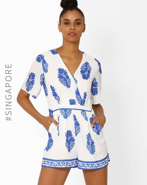 Floral Print Playsuit With Pockets By MDS ( White )