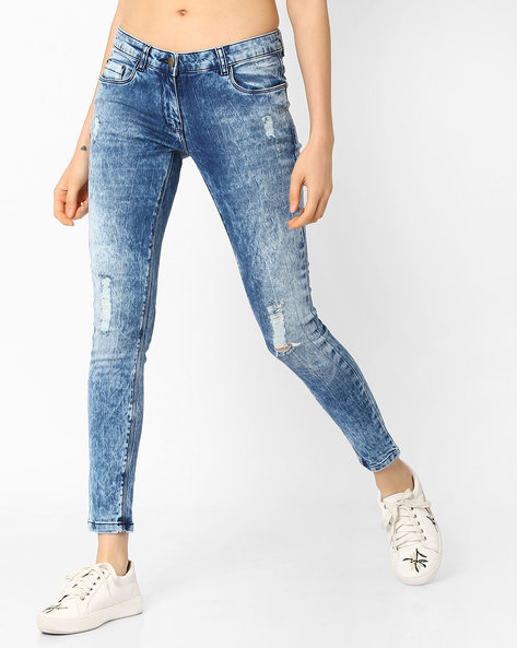Acid-Washed Distressed Jeans By Fame Forever By Lifestyle ( Indigo )