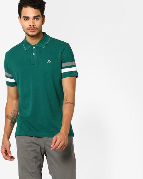 Polo T-shirt With Striped Sleeves By Aeropostale ( Green )