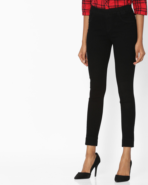 Cotton Jeggings With Elasticated Waist By KRAUS ( Black )