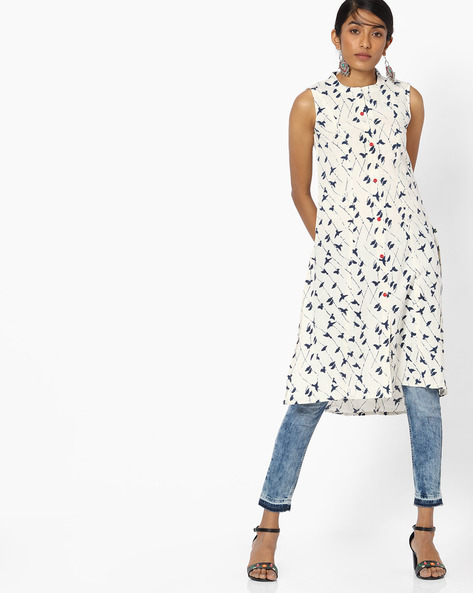 Bird Print Sleeveless Kurta With Button Placket By AVAASA MIX N' MATCH ( Navy )