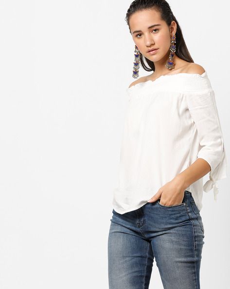 Off-Shoulder Top With Tie-Up Sleeves By BOSSINI ( Offwhite )