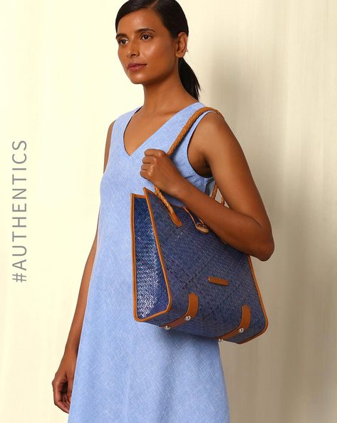 Handcrafted Natural Fibre Hand Bag By Indie Picks ( Blue )