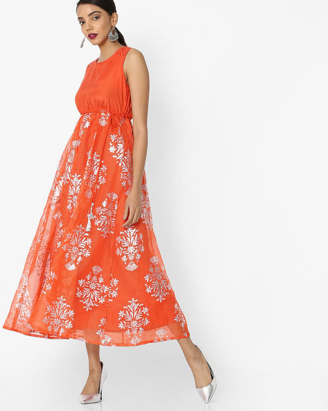 Printed Sleeveless Fit & Flare Dress By Akkriti By Pantaloons ( Orange )