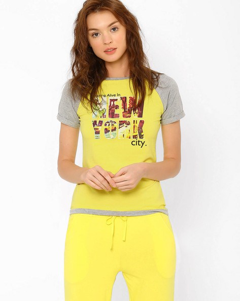 Printed T-shirt With Raglan Sleeves By AJIO ( Yellow )
